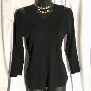 Cable & Gauge XL 3/4 Sleeve Sweater in Black